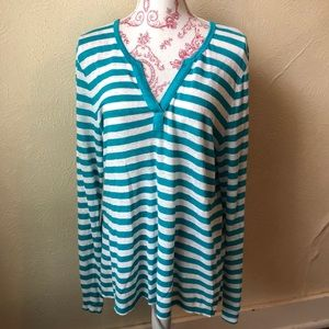 Tommy Bahama Split Neck Linen Blouse XL Teal White